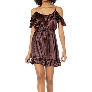 Women's Textured Satin Ruffle Off Shoulder Dress